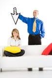 Homme d'affaires avec une flèche indicatrice Images stock