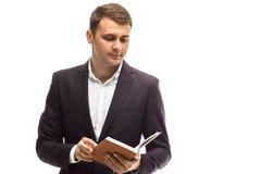 Homme d'affaires bel avec le journal intime Images libres de droits