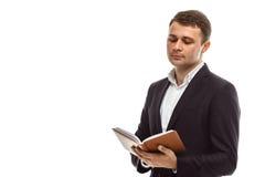 Homme d'affaires bel avec le journal intime Photos libres de droits
