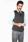 Homme d'affaires bel de moustache à la présentation Photographie stock libre de droits