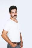 Homme d'affaires bel de moustache à la présentation Image libre de droits