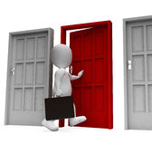 Homme d'affaires bien choisi Means Doorways Render et 3d fonctionnant Renderin Photo stock