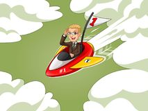 Homme d'affaires blond dans le costume brun montant une fusée avec le drapeau du numéro un Images libres de droits