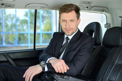 Homme d'affaires In The Car Images libres de droits