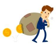 Homme d'affaires Carry Bag Of Gold Coins avec le trou là-dessus Images stock