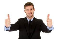 Homme d'affaires caucasien attirant, pouces vers le haut photo libre de droits