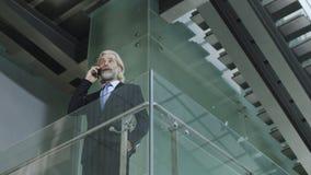 Homme d'affaires caucasien parlant au téléphone portable Image libre de droits