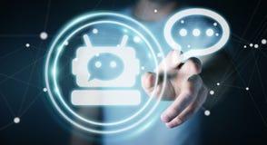 Homme d'affaires causant avec le rendu de l'application 3D de chatbot Photos libres de droits