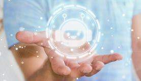 Homme d'affaires causant avec le rendu de l'application 3D de chatbot Images libres de droits