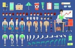 Homme d'affaires Character Creation Constructor homme dans différentes poses Personne masculine avec des visages, bras, jambes, c illustration stock