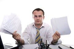 Homme d'affaires chargé et frustrant photographie stock