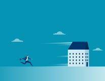 Homme d'affaires chassant une maison courante Symbole d'affaires de concept illustration stock