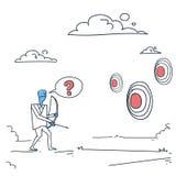 Homme d'affaires choisissant la cible pour viser avec l'homme d'affaires Making Decision Concept d'arc illustration stock
