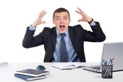 Homme d'affaires choqué dans la panique Images stock