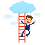 Homme d'affaires Climbing Stair Into le nuage Photos stock