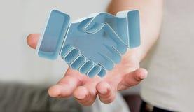 Homme d'affaires concluant un rendu de l'association 3D Photo stock