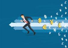 Homme d'affaires courant à l'illustration de vecteur de succès avec le fond d'icône de symbole d'argent, illustration de concept  Images stock