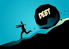 Homme d'affaires courant à partir de la grande pierre avec la dette de message illustration de vecteur