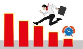 Homme d'affaires courant avec succès sur une échelle au diagramme  illustration stock