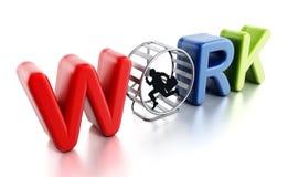 Homme d'affaires courant dans la roue de hamster illustration 3D Photo libre de droits
