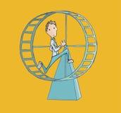 Homme d'affaires courant dans une roue de hamster Image libre de droits
