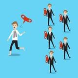 Homme d'affaires courant la manière différente avec d'autres et le jet loin Images libres de droits