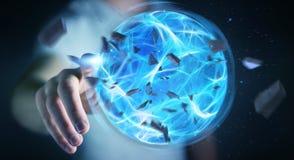 Homme d'affaires créant une boule de puissance avec son rendu de la main 3D Photos libres de droits