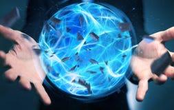 Homme d'affaires créant une boule de puissance avec son rendu de la main 3D Photos stock