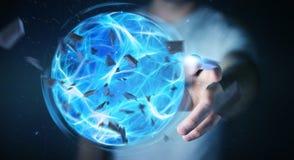Homme d'affaires créant une boule de puissance avec son rendu de la main 3D Photo stock
