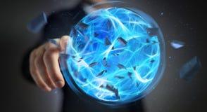 Homme d'affaires créant une boule de puissance avec son rendu de la main 3D Image libre de droits