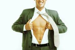 Homme d'affaires déchirant sa chemise ouverte Images libres de droits