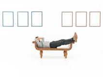 Homme d'affaires décontracté dans la galerie d'art photo libre de droits