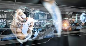 Homme d'affaires déplaçant des données numériques avec un rendu tactile du stylo 3D Photographie stock libre de droits