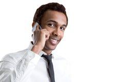 Homme d'affaires d'afro-américain avec le téléphone portable Images libres de droits