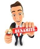 homme d'affaires 3d allumant un bâton de dynamite Image libre de droits