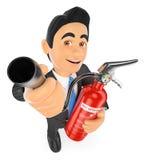 homme d'affaires 3D avec un extincteur Risque professionnel illustration de vecteur