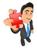 homme d'affaires 3D avec un morceau de puzzle illustration stock