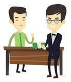 Homme d'affaires d'incorrompu refusant de prendre le paiement illicite illustration stock