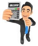 homme d'affaires 3D montrant une calculatrice le concept finance la pile d'argent Photos libres de droits