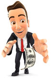 homme d'affaires 3d se pliant vers le bas pour prendre le billet d'un dollar Photographie stock libre de droits