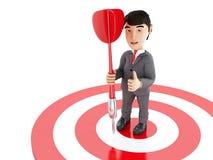 homme d'affaires 3d sur la cible avec un dard illustration stock