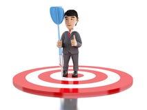 homme d'affaires 3d sur la cible avec un dard illustration libre de droits