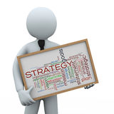 homme d'affaires 3d tenant le wordcloud de stratégie illustration libre de droits