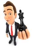 homme d'affaires 3d tenant un roi d'échecs illustration de vecteur