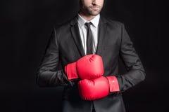 Homme d'affaires dans des gants de boxe Photo libre de droits