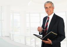 Homme d'affaires dans l'arrangement principal élevé de bureau photos libres de droits