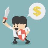 Homme d'affaires dans l'attaque tenant une épée et un bouclier Photographie stock libre de droits