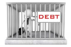 Homme d'affaires dans la cage en métal avec le plat de signe de dette rendu 3d Image libre de droits