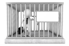 Homme d'affaires dans la cage en métal avec le plat de signe vide rendu 3d Photo stock