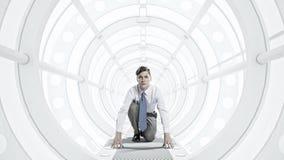 Homme d'affaires dans la chambre 3D Media mélangé Photographie stock libre de droits